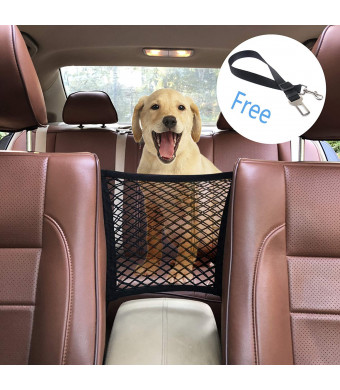 Yunzhu Car Dog Barrier Dog Vehicle Seat Mesh,Universal Stretchy Storage Net Barrier,Disturb Stopper from Children and Pets,Include Pet Seat Safety Belts
