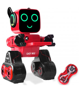 IHBUDS Programmable Remote Control Toy Robot for Kids,Touch and Sound Control, Speaks, Dance Moves, Plays Music. Built-in Coin Bank.Rechargeable RC Robot Kit for Boys, Girls All Ages-Red/Black