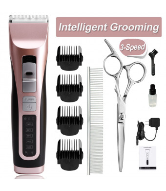 cyrico Dog Grooming Clippers 3-Speed Dog Clippers for Small Medium Dogs Cordless Pet Grooming Clippers Kit for Dogs Cats Dog Hair Trimmers Clippers Professional with Detachable Blade