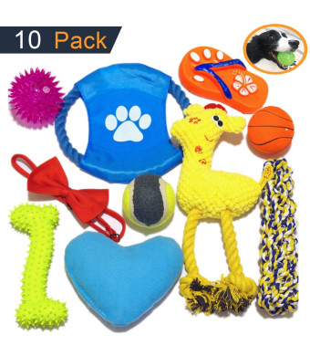 YAPITO Dog Chew Balls, Sticks, Flyer, Plush and Squeaky Toys of Rubber and Textile, More Durable, 10 Pack.