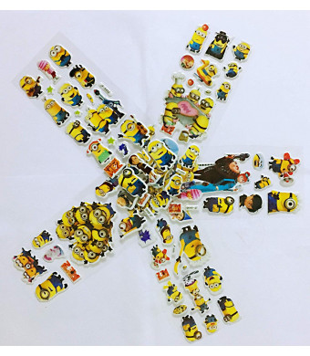 Chaoiwah Despicable me Stickers Minion Sticker 3D 4 Sheets and one More Free Totally 5 Sheets per Pack-Despicable Me