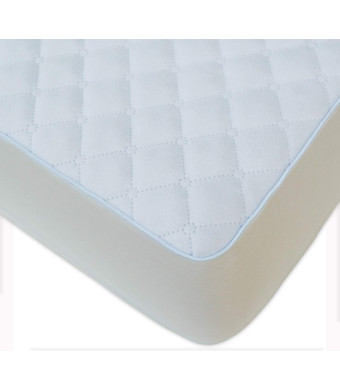 BlueSnail Waterproof Quilted Pack N Play Crib Mattress Cover - Fits All Baby Portable Mini Cribs, Play Yards and Foldable Mattresses (White)