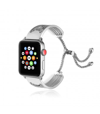 AsiaFly Compatible with Apple Watch Band 42mm 44mm, Adjustable Stainless Steel Jewelry Hollow Hoop Swirls Bracelet Bangle Strap Cuff Band Replacement for Apple Watch Series 4/3/2/1 - Silver