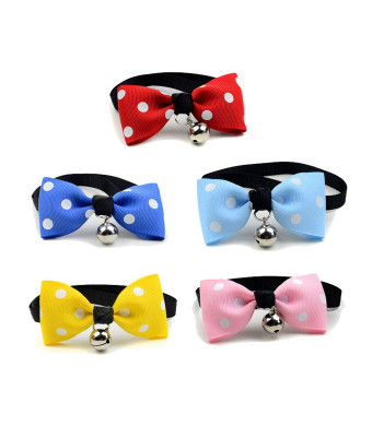 Set of 5 Adjustable Cat Puppy Bow Tie Neckties Pet Neck Collar with Bell, Handcrafted Neck Tie Collar Costume Charms Grooming Party Dress Up Accessories for Doggy, Cat, Kitty, Kitten