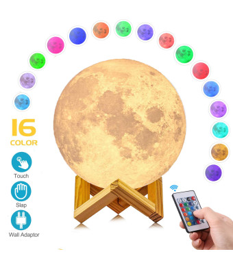 AED Moon Light Lamp with Stand, Slap and Touch and Remote Control, Color Changing, Dimmable, USB Recharge, LED 16 Colors RGB Lunar Lamp with UL Listed Wall Adaptor, Christmas Gift for Kid (5.9INCH)