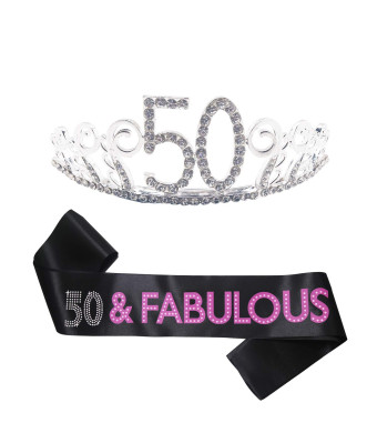 B4MBOO 50th Birthday Tiara and Sash, HAPPY 50th Birthday Party Supplies, 50 and Fabulous Glitter Satin Sash and Crystal Rhinestone Birthday Crown For Birthday Party Supplies and Decoration
