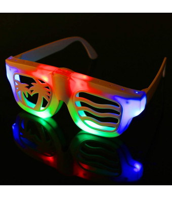 Hpory LED Glasses Party Show Toy Glasses 2 Pack Led Light Glasses for Kids, DIY Light Up Glasses for Halloween, Christmas, Birthday Party