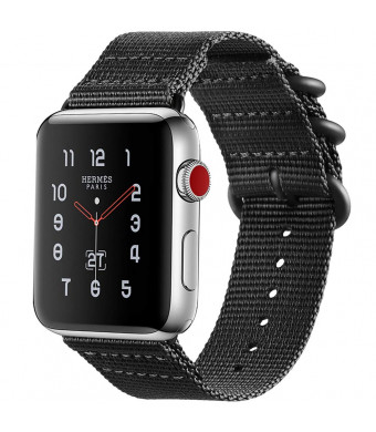 MEBUYZ Sports Band Compatible for Apple Watch Nylon Band 42mm, Nylon Band Replacement Straps Compatible with Apple Watch Series 1/2/3 Apple Watch Nike+ Hermes Edition (Black)