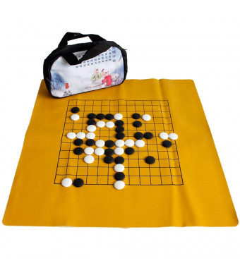 Elloapic Go Chess Game Set with Exquisite Ceramics Stones in Cloth Bags + Leather Go Board + One Carrying Bag, 9/13 Lines Board