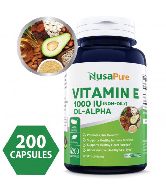 Best Vitamin E 1000 IU 200 Powder Caps (Non-Oily, Non-GMO and Gluten Free) - DL-Alpha Tocopherol - Antioxidant for Healthy Skin, Eyes and Hair - 100% Money Back Guarantee!
