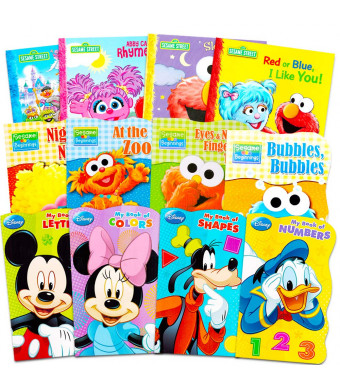 Sesame Street + Mickey Mouse Baby Toddler Beginnings Board Books and Story Books (12 Book Set)