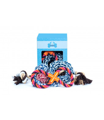 Bagoo Pets Dog Rope Toys for Small, Medium, and Large Dogs. Sets of 4 and 5. for Keeping Them Busy, Playing Thug of War, When Teething. Suited for Aggressive Chewers.