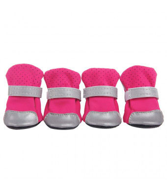 FitfulVan 4Pcs Dog Shoes Anti-Slip Pet Boots Paw Protector Straps