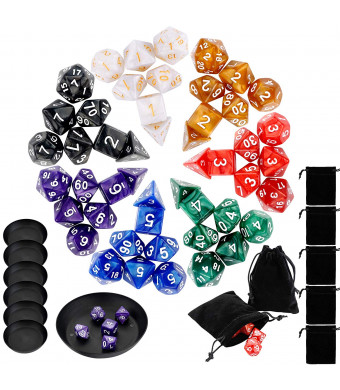 Augshy 49 Pcs Dungeon and Dragons Dice Set,Give 7 Pcs Pouches and 7 Pcs Dice Plates for Free