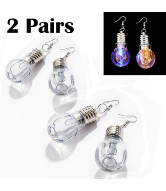 eLUUGIE 2 Pairs/4 Pecies LED Earrings Glowing Light Up Toy Bulb Shape Ear Drop Dance Party Accessories Multicolored Flashing for Christmas Party Gift Festival Party (2 Pairs/ 4 Pieces)