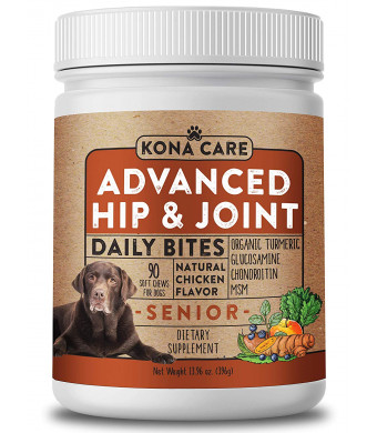 Advanced Strength Hip and Joint Supplement for Dogs - Organic Turmeric, Glucosamine, Chondroitin, and MSM - Made with All-Natural Ingredients - Supports Healthy Joints, Improves Mobility - 90 Soft Chews
