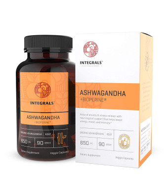 Integrals Organic Ashwagandha Capsules + Bioperine | Potent 650mg of Ashwagandha Root in Every Vegan Capsule | Natural Energy Booster - Mood Support - Anxiety and Stress Relief