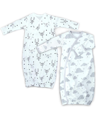 2 Pk 100% Organic Cotton Kimono Gown Boy Girl, Newborn - 3 Months Easy Change Snaps Built in Mitts, Gray/White Animals Clouds