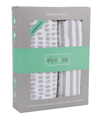 Waterproof Bassinet Sheet,No Need for Bassinet Mattress Pad Cover, 2 Pack Taupe Stripes and Splash,Unisex for Baby Boy and Baby Girl by Ely's and Co