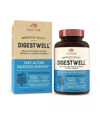 DigestWell Immediate Relief - Fast-Acting Digestive Support   Broad Spectrum Enzyme, Probiotic and Herbal Formula - Decreases Gas and Bloating - 90 Capsules