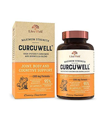 CurcuWell - Maximum Strength Joint, Body and Cognitive Support | High-Potency Curcumin and Boswellia Blend - 30 Day Supply
