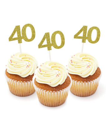 HZOnline Cupcake Cake Toppers 40th Birthday, Golden Glitter Number 40, Birthday Celebrating, Anniversary Party Decor (24PCS)
