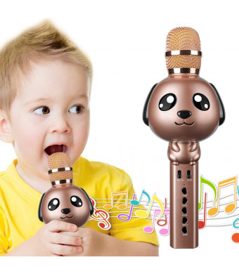 Microphone for Kids, Wireless Bluetooth Karaoke Microphone Portable Handheld karaoke Mic Home Party Birthday Speaker Machine for iPhone/Android/iPad/Sony,PC and All Smartphone (Brown)