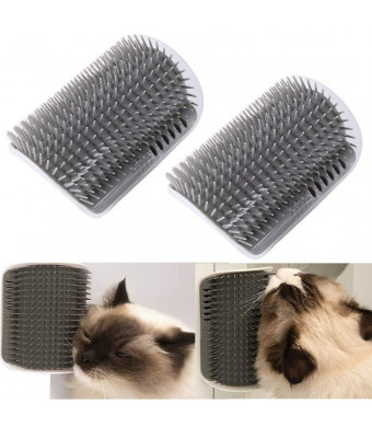 VintageBee 2 Pack Pet Brush Massage Perfect Tool for Cats with Long and Short Fur, Cat Self Groomer with Catnip