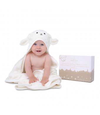"""Ultra Soft Rayon from Bamboo Baby Hooded Towel and Washcloth Set   Bamboo Infant Towel   Cute Lamb   Thick, Soft and Ultra Absorbent   Newborn Baby Shower Gift Toddler, Boy and Girl   40""""x28 Unisex"""