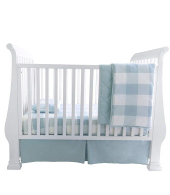 Baby Crib Set 4 pc, Crib Sheet,Quilted Blanket, Crib Skirt and Baby Pillow Case Gingham Design in Dusty Blue