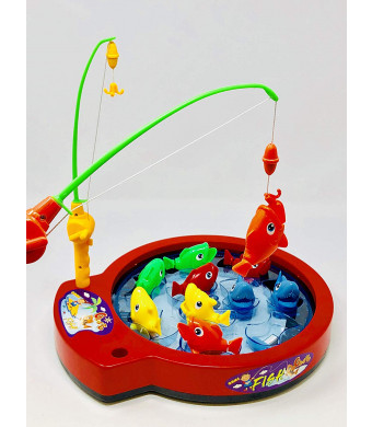 INCHOI Fishing Game Toy Set with Single-Layer Rotating Board | Now with Music On/Off Switch! | Includes 10 Fish and 4 Fishing Poles | Safe and Durable Gift for Toddlers and Kids