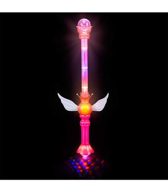 "Rhode Island Novelty LED Light Up Royal Princess Moon Fairy Wing Scepter Wand - Multi Flashing Modes, Glitter Interior, 21"", Easy Button Activate, Light Show Prism Ball Ends - Costume Accessories"