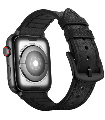 Mifa Hybrid Leather Sports Band Compatible with Apple Watch Vintage Bands Replacement Straps Classic Dress iwatch Series 4 40mm 1 2 3 38mm Black Men Women HB (40mm/38mm - Black)
