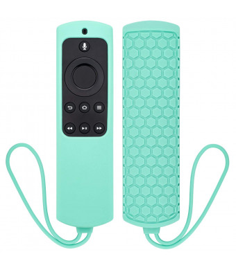 YOCOWOCO Case for Alexa Voice Remote for Fire TV Stick/Fire TV with 4K HD Media Player 2017 Edition (2nd Gen)/ Fire TV Cube- Shockproof Anti-Slip Silicone Protective Cover with Lanyard, Mint Green
