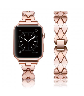 Kwlet Compatible with Rose Gold Apple Watch Band 38mm Metal Stainless Steel Designer Band Unique Luxury Pretty Band Replacement for 40mm Apple Watch Band Rose Gold Series 4 3 2 1