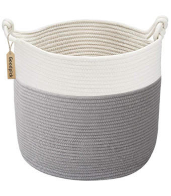 Goodpick Cotton Rope Basket with Handle for Baby Laundry Basket Toy Storage Blanket Storage Nursery Basket Soft Storage Bins-Natural Woven Basket, 15''  15''  14.2''