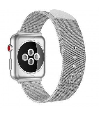 MoKo Compatible Band Replacement Apple Watch 42mm 44mm Series 4/3/2/1, Premium Double Magnets Milanese Loop Mesh Stainless Steel Metal Replacement Strap Watch Lugs, Small Szie, Silver