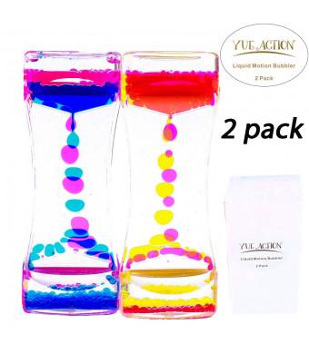 YUE ACTION Liquid Timer 2 Pack / Liquid Motion Bubbler Timer for Caliming Sensory Toys, Autism Toys ,Fidget Toy, Children Activity, Desk Toys,Novelty Gifts, Assorted Colors (Blue+Orange Set)