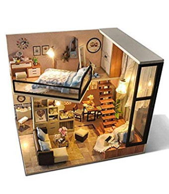UniHobby Dollhouse Miniature DIY Dollhouse Kit with Dust Proof Cover 1:24 Scale Wooden House Toy