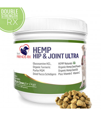 Advanced Hemp Chews for Dogs, Hip and Joint Supplement for Pain and Stress Relief, Separation Anxiety | Calming Treats | Glucosamine and Turmeric Plus Natural Hemp Oil-Infused (Maximum Potency)