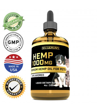 iVitamins Hemp Oil Drops for Pets - Grown and Made in USA - Supports Hip and Joint Health, Natural Relief for Pain, Separation Anxiety - Zero THC CBD Cannabidoil - Apply Easily to Treats