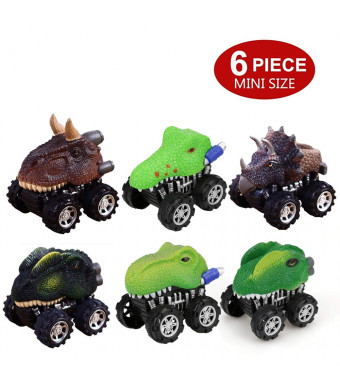 DIZOR Pull Back Vehicles,6-Pack Dinosaur Cars Toys with Big Tire Wheel for 3-14 Year Old Toddlers,Pull Back and Go Car Toy Play Set (6-Pack Dinosaur Cars)