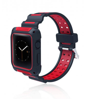 W-lin TPU Band for Apple Watch 42 mm, Protective Case with Strap Bands Compatible Apple Watch Series 3, Series 2, Series 1, Sport - Red/Black
