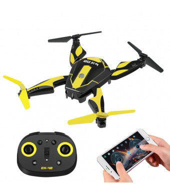 Pocket Size Foldable Selfie RC Drone with Real-Time WiFi HD Camera, One Key Start, Altitude Hold Roll RTP (Ready-to-Play) and Smart App, Small Portable Remote Control Folding Live Video Photography