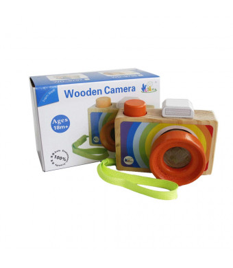 GoodPlay Cartoon Mini Wooden Camera Toy with Multi-Prism Kaleidoscope Pictures Lens Portable Camera for Children Toddlers (Carrying in The Hand)