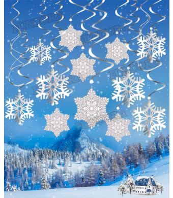 FUNCORA 30PCS Silver Snowflake Swirls Decor, Christmas Hanging Swirls Decorations for Party/Home Decor/New Years 2019 Decorations Supplies (Silver)
