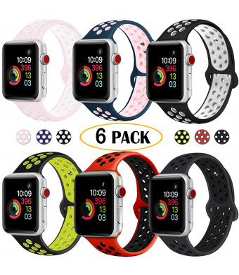 DOBSTFY Compatible with iWatch Bands 38mm 40mm 42mm 44mm,Soft Silicone Sport Band Replacement Wristband for Series 4 3 2 1, Nike+, Sport, Edition, S/M M/L, 6PACK