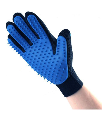 Raven Pet Hair Remover Glove - Gentle Pet Massage Grooming De-Shedding Glove Brush  Blue Five Finger Design - Perfect for Dogs, Cats and Horses - Long and Short Hair or Fur - 1 Right Handed Glove