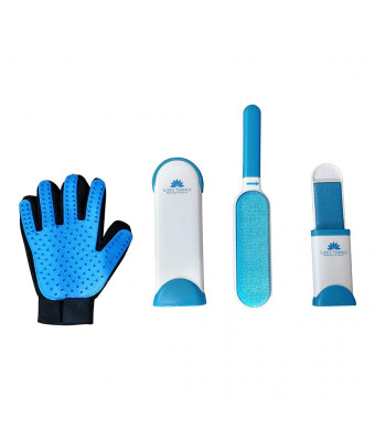 Pet Hair Remover - Cat and Dog Fur Remover with Self-Cleaning Kit and bonus Pet Grooming and Fur removal Glove eliminating hair and lint from clothes and furniture.