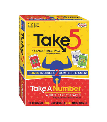 Amigo Take 5: Family and Adult Card Game w/Take a Number Bonus Pack, Yellow and Red